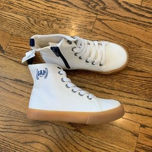New GAP Hi Top Sneakers Shoes White Navy Logo 10